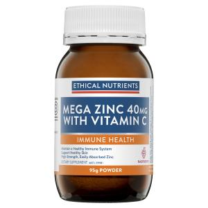 Ethical Nutrients MEGAZORB Mega Zinc 40mg with Vitamin C Raspberry 95g Powder