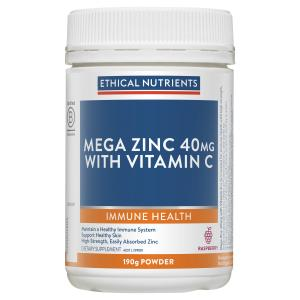 Ethical Nutrients MEGAZORB Mega Zinc 40mg with Vitamin C Raspberry 190g Powder